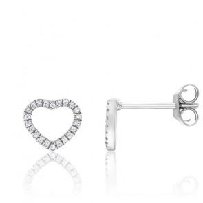 Boucles d'oreilles cœur ajouré, diamants & or blanc 18 carats