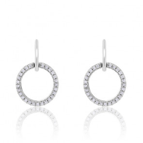 Boucles d'oreilles cercle diamants & or blanc 18K