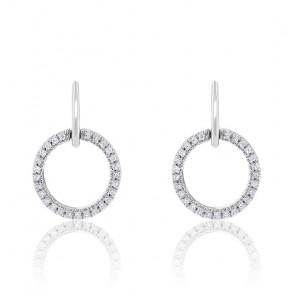 Boucles d'Oreilles Rond Diamants & Or Blanc 18K