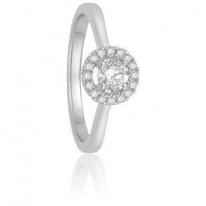 Bague Solitaire Marguerite 0,15 ct Or Blanc 18K