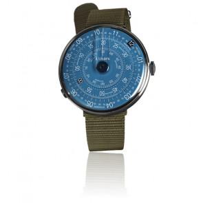 KLOK-01-D7 - Cadran Bleu - Bracelet textile Vert