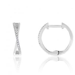 Boucles d'oreilles créoles, diamants et or blanc 18 carats