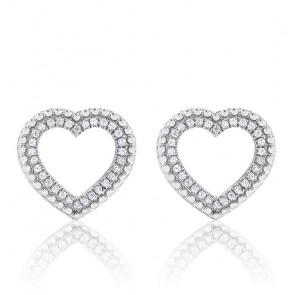 Boucles d'oreilles cœur ajouré, diamants & or blanc 18K, effet perlé