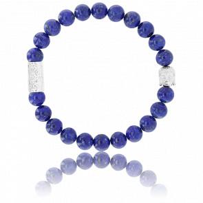 Bracelet Lapis Lazuli & Buddha Argenté