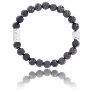 Bracelet Pierre Noire Impériale & Buddha Argenté