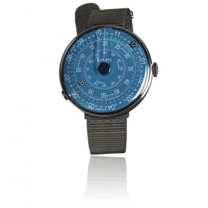 KLOK-01-D7 - Cadran Bleu - Bracelet textile Gris