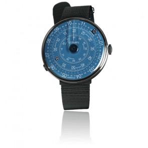KLOK-01-D7 - Cadran Bleu - Bracelet textile Noir