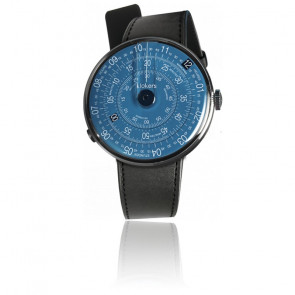 KLOK-01-D7 - Cadran Bleu - Bracelet cuir Noir Satiné