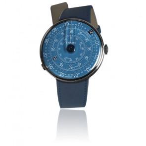 KLOK-01-D7 - Cadran Bleu - Bracelet cuir Bleu Indigo