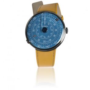 KLOK-01-D7 - Cadran Bleu - Bracelet cuir Jaune Newport