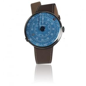 KLOK-01-D7 - Cadran Bleu - Bracelet cuir Marron Chocolat
