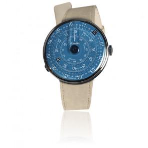 KLOK-01-D7 - Cadran Bleu - Bracelet Alcantara Gris