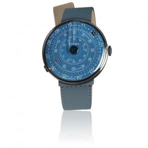 KLOK-01-D7 - Cadran Bleu - Bracelet Cuir Bleu Jean