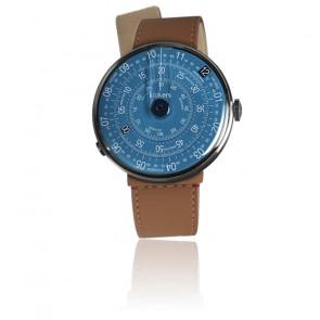 KLOK-01-D7 - Cadran Bleu - Bracelet Cuir Caramel