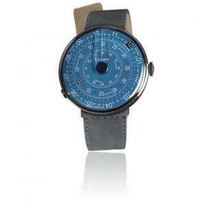 KLOK-01-D7 - Cadran Bleu - Bracelet Alcantara Gris Souris