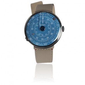 KLOK-01-D7 - Cadran Bleu - Bracelet Cuir Greige