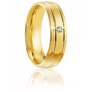 Alliance Saria Or Jaune et Diamant