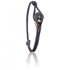 Bracelet Poulie Acier PVD Noir & Cordon Marin Bleu Marine