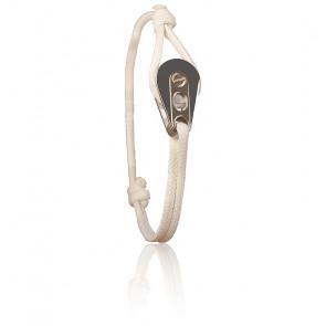 Bracelet Poulie Acier PVD Rose & Cordon Marin Blanc