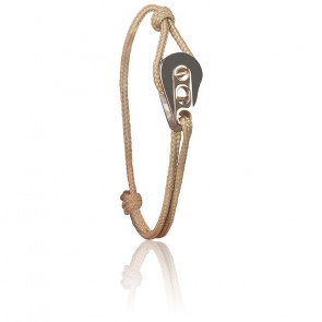 Bracelet Poulie Acier PVD Rose & Cordon Marin Beige