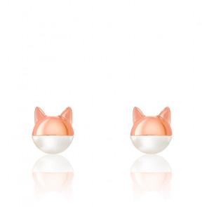 Boucles d'oreilles chat masqué, perle & plaqué or rose 18K