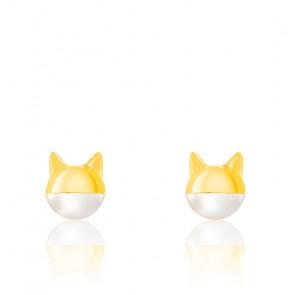 Boucles d'Oreilles Chat Masqué Perle & Plaqué Or Jaune 18K