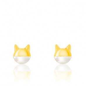 Boucles d'oreilles chat masqué, perle & plaqué or jaune 18K