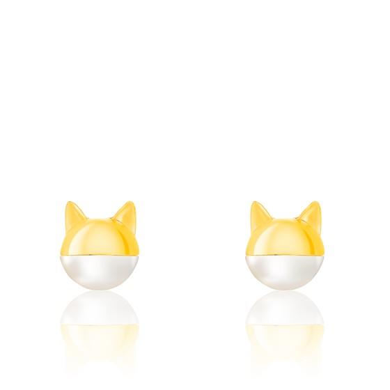 boucle d'oreille chat perle