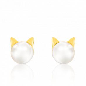 Boucles d'oreilles chat, plaqué or jaune 18K & perle