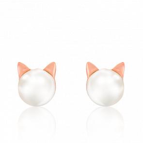 Boucles d'oreilles chat, plaqué or rose 18K & perle
