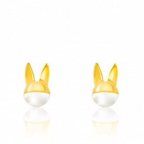 Boucles d'Oreilles Lapin Masqué, Perle & Plaqué Or Jaune 18K