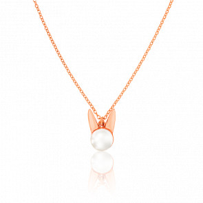 Collier Lapin Perle & Plaqué Or Rose 18K