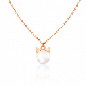 Collier Chat Perle & Plaqué Or Rose 18K