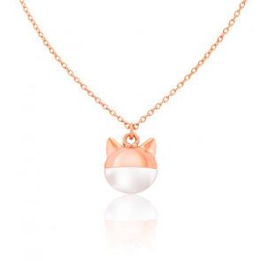 Collier Chat Masqué Perle & Plaqué Or Rose 18K