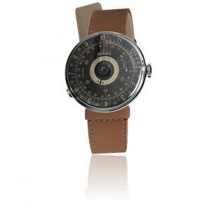 KLOK-08 - Cadran Noir - Bracelet Cuir Caramel