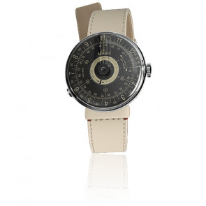 KLOK-08 - Cadran Noir - Bracelet Cuir Ivoire