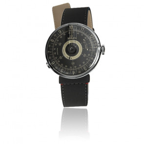 KLOK-08 - Cadran Noir - Bracelet Cuir Noir Mat