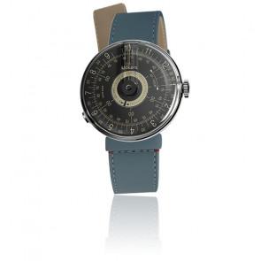KLOK-08 - Cadran Noir - Bracelet PU Bleu