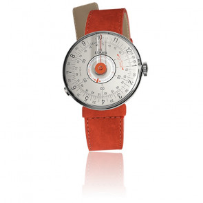 KLOK-08 - Cadran Gris Perle - Bracelet Alcantara Orange