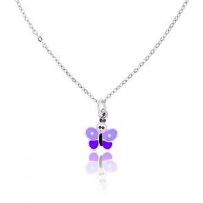 Collier Papillon Violet Argent