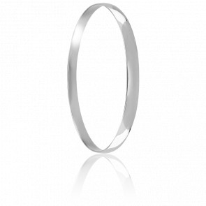 Bracelet Demi Jonc Plat Massif  70 mm Or Blanc 18K