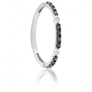 Bague Ladakh Or Blanc et Diamants Noirs 9k
