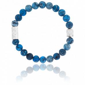 Bracelet Mapstone Bleue & Buddha Argenté