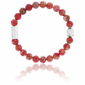 Bracelet Jaspe de Mer Rouge & Buddha Argenté