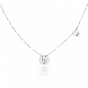 Collier Médaille Love Me Or Blanc 18K