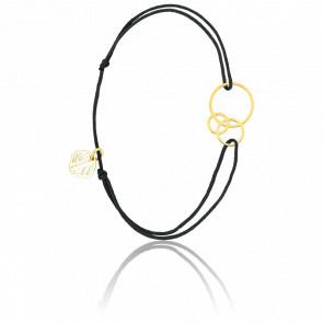 Bracelet Dune Cordon Noir & Plaqué Or