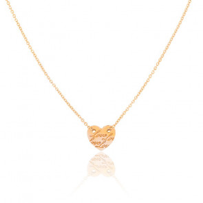 Collier Médaille Coeur Love Or Rose 18K