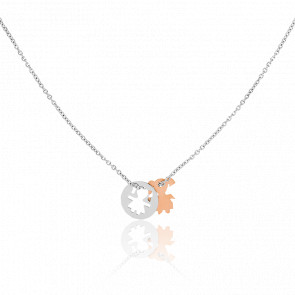 Collier Médaille Petite Fille Or Rose & Blanc 18K