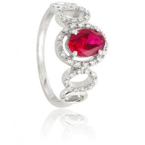 Bague Sibylle Rubis Diamants & Or Blanc 18K