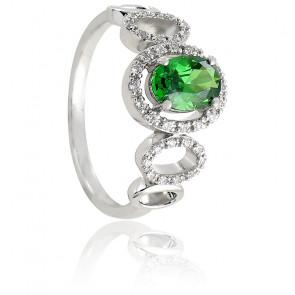 Bague Sibylle Emeraude Diamants & Or Blanc 18K